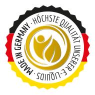 Qualitaetssiegel mit der Aufschrift: E-Liquids Made in Germany