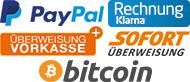 Kleine Zahlungsartenlogos von PayPal, Sofortueberweisung, Klarna und Überweisung