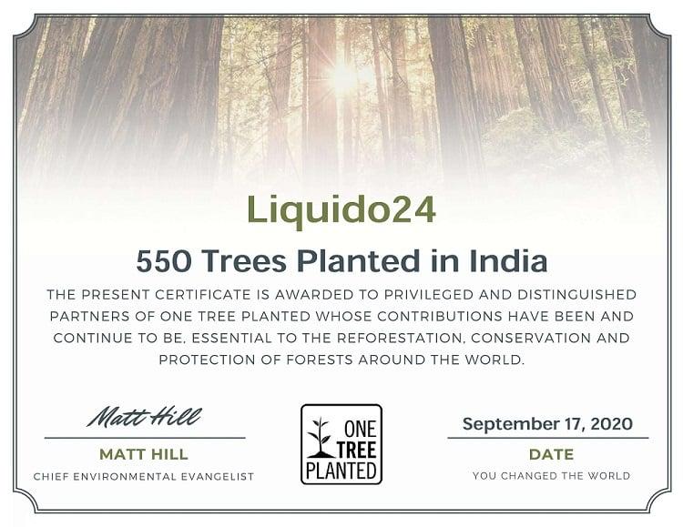 One Tree Planted Zertifikat