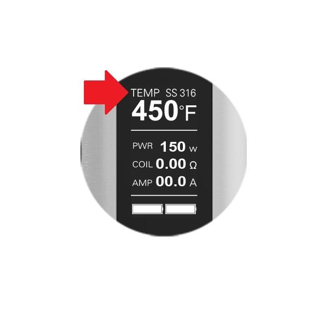 Temperaturmodus im Display eines Akkuträgers